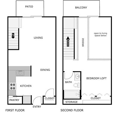 1 bed, 1 bath loft floor plan