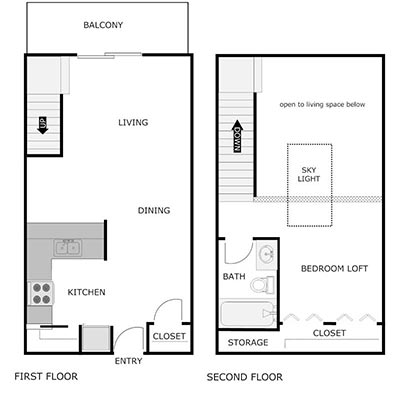 1 bed, 1 bath loft floor plan