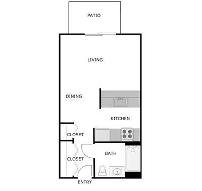 studio, 1 bath floor plan